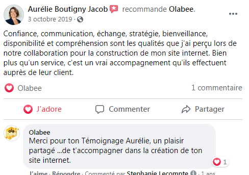 Témoignages - Olabee - Formation site internet