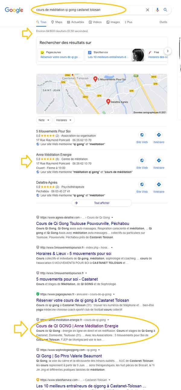 Positionnement page Google